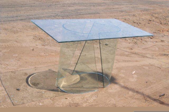 base em vidro curvo
