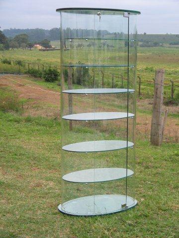 vitrine em vidro curvo
